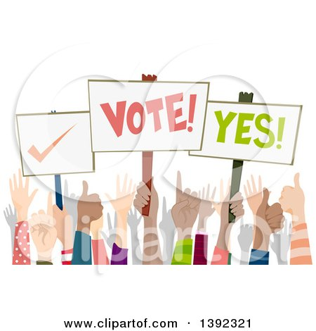 Clipart of a Crowd of Hands, Some Holding up Election and Voting Placards - Royalty Free Vector Illustration by BNP Design Studio