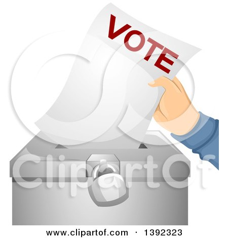 Clipart of a Hand Putting a Ballot in a Box - Royalty Free Vector Illustration by BNP Design Studio