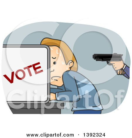 Clipart of a White Man Sweating and Being Held at Gunpoint in a Voter Booth - Royalty Free Vector Illustration by BNP Design Studio