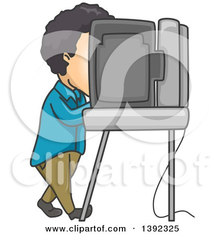 Clipart of a Man Using a Voting Machine in a Booth - Royalty Free Vector Illustration by BNP Design Studio