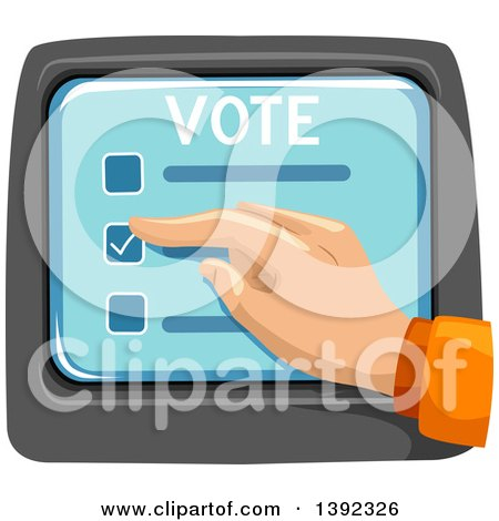 Clipart of a Hand Selecting a Box on a Voter Screen - Royalty Free Vector Illustration by BNP Design Studio
