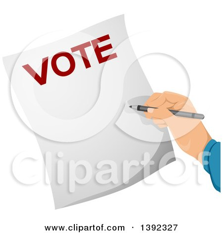Clipart of a Hand Writing on a Voters Ballot - Royalty Free Vector Illustration by BNP Design Studio