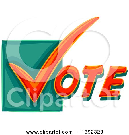 Clipart of a Check Mark Starting the Word VOTE - Royalty Free Vector Illustration by BNP Design Studio