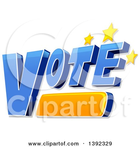 Clipart of the Word VOTE with Stars - Royalty Free Vector Illustration by BNP Design Studio