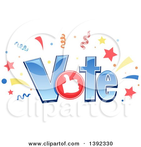 Clipart of the Word VOTE with Confetti, Stars and a Thumb up - Royalty Free Vector Illustration by BNP Design Studio