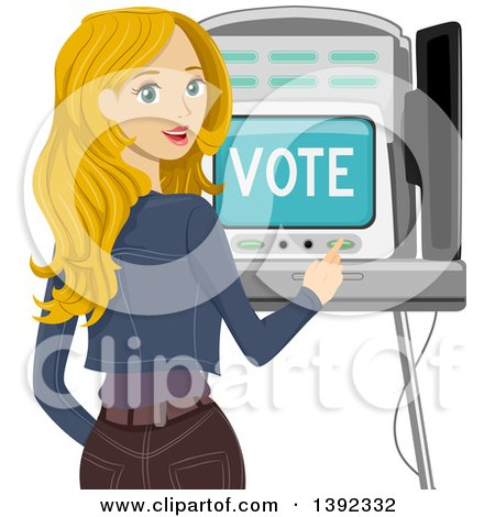 Clipart of a Blond White Woman Looking Back and Using a Voting Machine - Royalty Free Vector Illustration by BNP Design Studio