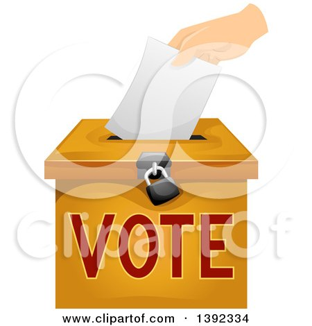 Clipart of a Hand Inserting a Voters Ballot in a Box - Royalty Free Vector Illustration by BNP Design Studio