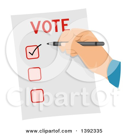 Clipart of a Man Checking a Box on a Voter Ballot - Royalty Free Vector Illustration by BNP Design Studio