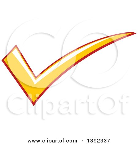 Clipart of a Yellow and Red Check Mark - Royalty Free Vector Illustration by BNP Design Studio