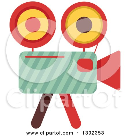 Clipart of a Flat Design Movie Camera - Royalty Free Vector Illustration by BNP Design Studio