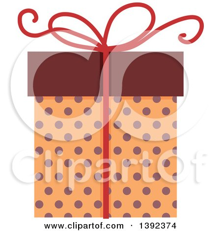 Clipart of a Flat Design Gift Box - Royalty Free Vector Illustration by BNP Design Studio