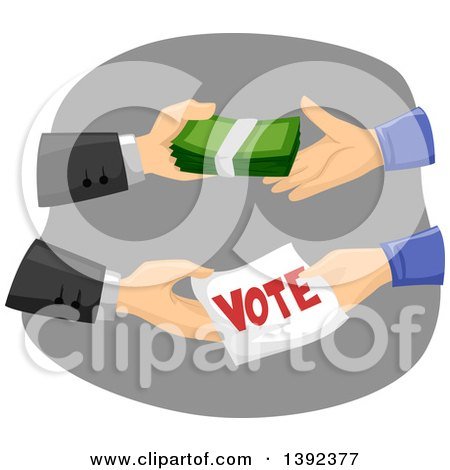 Clipart of a Politician Buying Votes - Royalty Free Vector Illustration by BNP Design Studio