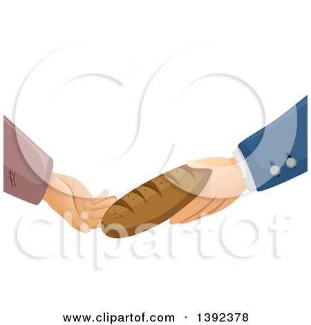 Clipart of Rich and Poor Hands Exchanging a Loaf of Bread - Royalty Free Vector Illustration by BNP Design Studio