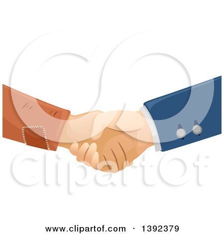 Clipart of Rich and Poor Male Hands Shaking - Royalty Free Vector Illustration by BNP Design Studio