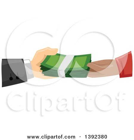 Clipart of White and Black Male Hands Exchanging Cash Money - Royalty Free Vector Illustration by BNP Design Studio