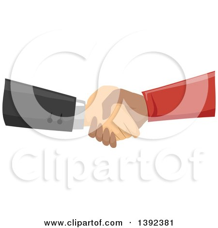 Clipart of White and Black Male Hands Shaking - Royalty Free Vector Illustration by BNP Design Studio