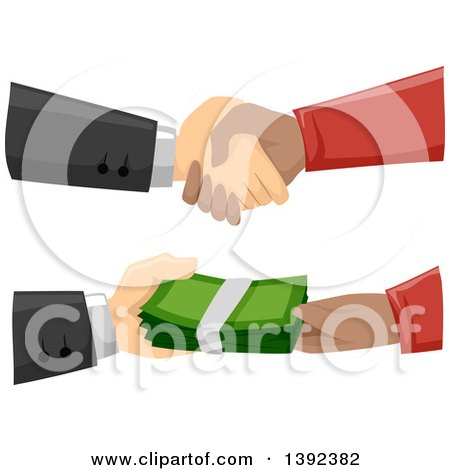Clipart of Hands Stricking a Shady Deal and Exchanging Cash Money - Royalty Free Vector Illustration by BNP Design Studio