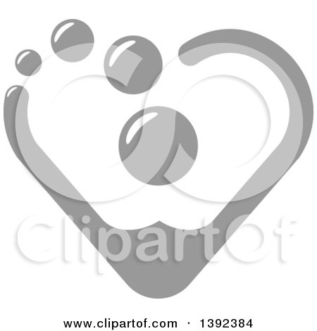 Clipart of a Gray Heart Made of Blood Drops - Royalty Free Vector Illustration by Vector Tradition SM