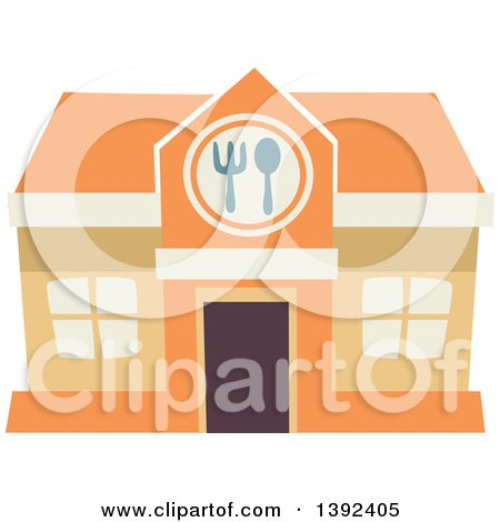 Clipart of a Flat Design Restaurant Store Front - Royalty Free Vector Illustration by BNP Design Studio