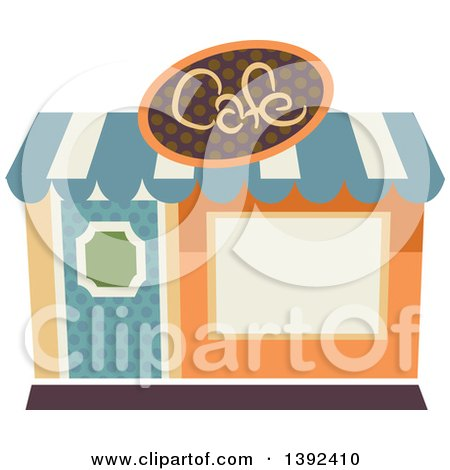 Clipart of a Flat Design Cafe Store Front - Royalty Free Vector Illustration by BNP Design Studio