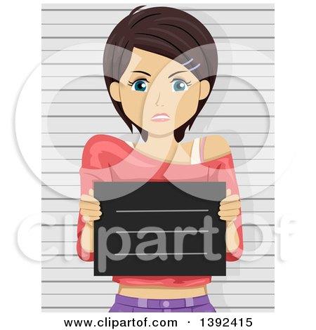 Clipart of a Mad Brunette White Woman Getting Her Mug Shot Taken - Royalty Free Vector Illustration by BNP Design Studio