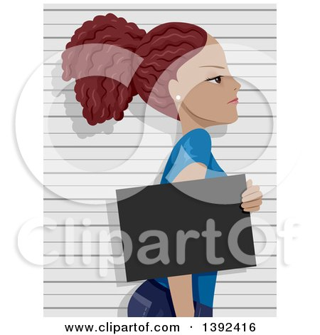 Clipart of a Mad Young Black Woman Getting Her Mug Shot Taken - Royalty Free Vector Illustration by BNP Design Studio