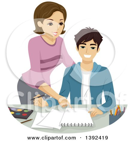 Clipart of a Teenage Boy Getting Art Lessons - Royalty Free Vector Illustration by BNP Design Studio