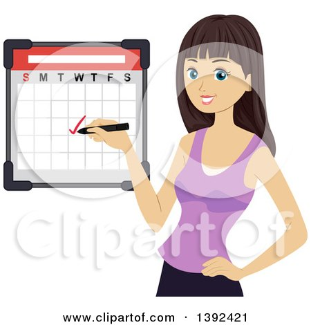 Clipart of a Brunette White Girl Checking off a Date on a Calendar - Royalty Free Vector Illustration by BNP Design Studio