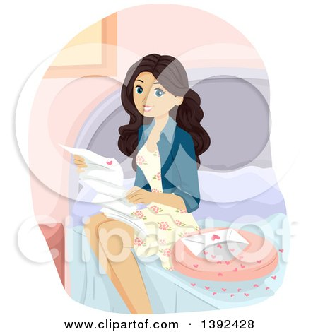 Clipart of a White Teen Girl Reading a Love Letter on Her Bed - Royalty Free Vector Illustration by BNP Design Studio
