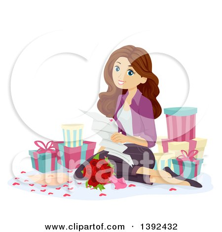 Brunette White Teen Girl Reading a Love Letter and Surrounded by Gifts Posters, Art Prints