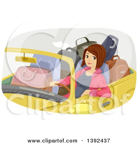 Clipart of a Brunette White Woman in a Convertible Car Filled with Luggage - Royalty Free Vector Illustration by BNP Design Studio