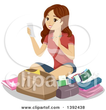 Clipart of a Young Brunette White Woman Preparing Her Luggage for Travel - Royalty Free Vector Illustration by BNP Design Studio