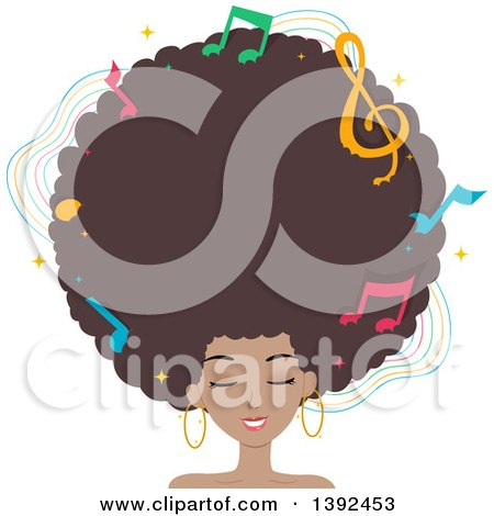 Clipart of a Pretty Black Woman with a Giant Afro and Music Notes - Royalty Free Vector Illustration by BNP Design Studio