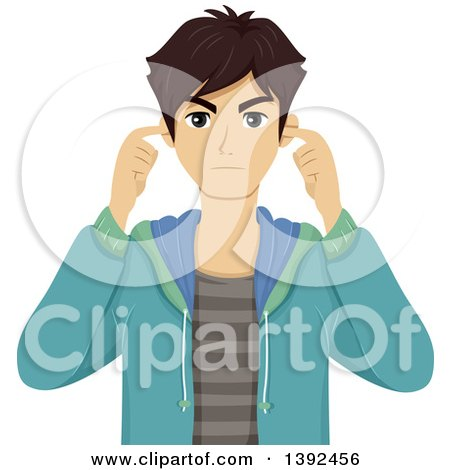 Clipart of a Frustrated and Annoyed Teenage Boy Plugging His Ears - Royalty Free Vector Illustration by BNP Design Studio