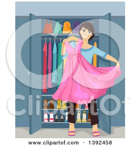 Clipart of a Teenage Guy Cross Dresser Holding a Dress - Royalty Free Vector Illustration by BNP Design Studio