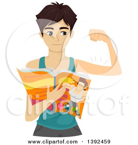 Clipart of a Skinny Teenage Guy Flexing His Biceps and Reading a Fitness Magazine - Royalty Free Vector Illustration by BNP Design Studio