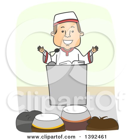 Clipart of a Muslim Imam Preaching to an Audience - Royalty Free Vector Illustration by BNP Design Studio