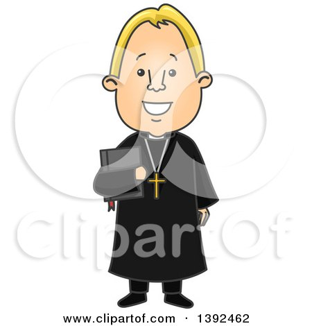 Clipart of a Cartoon Blond White Protestant Priest Holding a Bible - Royalty Free Vector Illustration by BNP Design Studio
