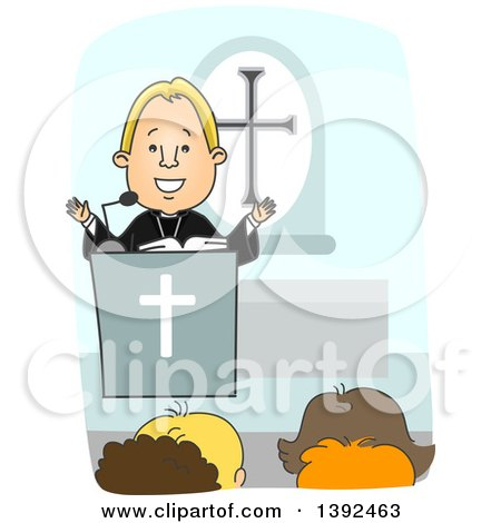 Clipart of a Cartoon Blond White Protestant Priest Preaching at the Pulpit - Royalty Free Vector Illustration by BNP Design Studio