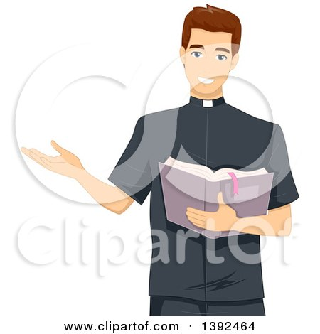 Clipart of a Young White Brunette Male Priest Reading from the Bible - Royalty Free Vector Illustration by BNP Design Studio