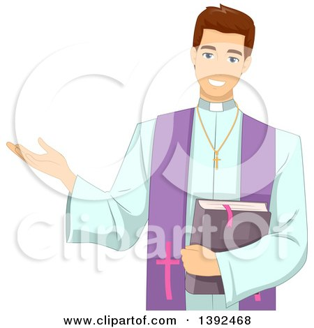 Clipart of a Young White Brunette Male Priest Delivering a Sermon - Royalty Free Vector Illustration by BNP Design Studio