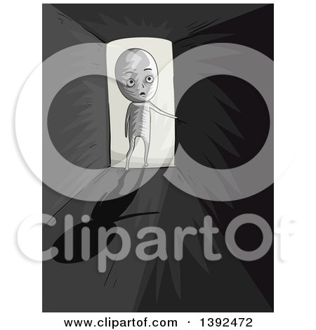 Clipart of a Man Entering a Dark Room - Royalty Free Vector Illustration by BNP Design Studio