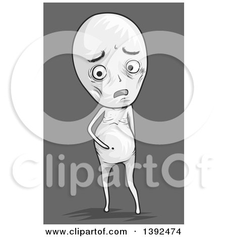 Clipart of a Malnourished Man with a Bloated Tummy - Royalty Free Vector Illustration by BNP Design Studio