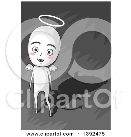 Clipart of a Happy Angelic Man with a Devil Shadow - Royalty Free Vector Illustration by BNP Design Studio