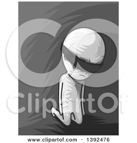 Clipart of a Grayscale Man Going Through Initiation, Blindfolded and Kneeling - Royalty Free Vector Illustration by BNP Design Studio