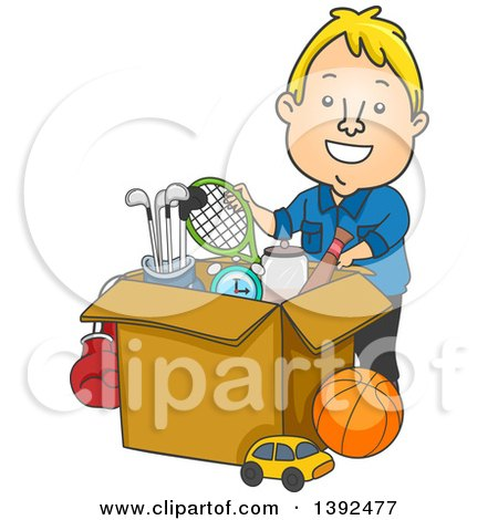 Clipart of a Cartoon Blond White Man Donating or Packing Sports Equipment - Royalty Free Vector Illustration by BNP Design Studio