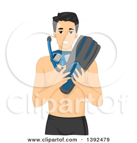 Clipart of a Happy Man Holding and Wearing Snorkel Gear - Royalty Free Vector Illustration by BNP Design Studio
