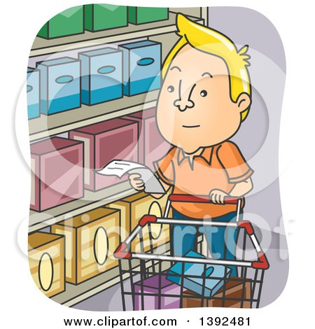 Clipart of a Cartoon Blond White Man Reading a Shopping List in a Grocery Store - Royalty Free Vector Illustration by BNP Design Studio