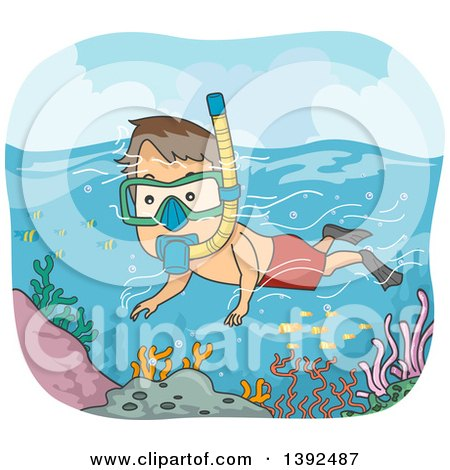 Clipart of a Cartoon Brunette White Man Snorkeling over a Reef - Royalty Free Vector Illustration by BNP Design Studio