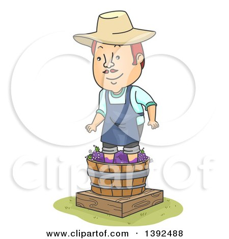 Clipart of a Cartoon Happy Red Haired White Man Stomping Grapes to Make Wine - Royalty Free Vector Illustration by BNP Design Studio